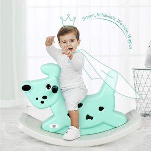 COSTWAY Schaukelpferd Hunde, Schaukeltier Baby, Schaukelspielzeug mit Musik und Licht, Wippspielzeug fuer Kleinkinder ab 6 Monaten Gruen