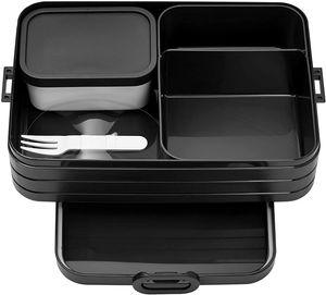 Mepal Bento-Lunchbox Take A Break Black Edition Large – Brotdose mit Fächern, geeignet für bis zu 8 Butterbrote, TPE/pp/abs, 0 mm