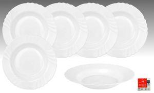 6er Set EBRO Suppenteller, tiefer Teller, Essteller, 23,5 cm, 300 ml, Opal-Hartglas
