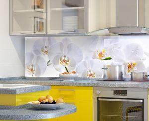 Küchenrückwand Orchidee Spritzschutz 60x300 cm feuchtigkeitsresistent Wandpaneel BL112