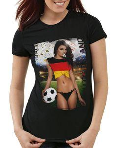 style3 EM 2021 2022 Soccer Girl Deutschland Damen T-Shirt Fußball Trikot Germany Schwarz, Größe:XS, Land:Deutschland