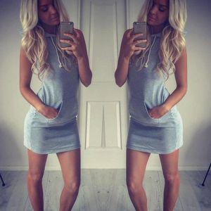 Mode Damen Sommer lässig ärmelloses Hoody Kleid Größe:M,Farbe:Grau