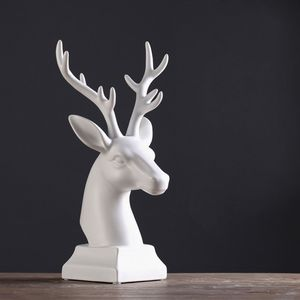 Dekofigur Hirschgeweih Hirschkopf Geweih Skulptur Porzellan weiß