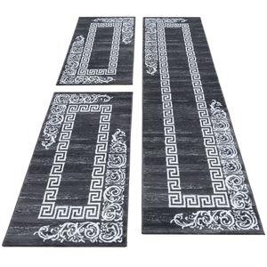 Bettumrandung Läufer Teppich Barock Versace muster Grau Weiß Läuferset 3 TLG, BettSet:2 x 80x150 cm + 1 x 80x300 cm