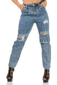 Damen Jeans Hose Risse Hochbund Röhrenjeans Skinny Slim Fit Stretch, Blau-024-2 L/40