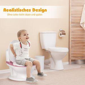 COSTWAY Kindertoilette mit eingebautem Tuchspender, Kinder Töpfchen Toilettentrainer, Toilettensitz zum Toilettentraining für Kleinkinder von 1 Monaten bis 4 Jahre (Rosa)
