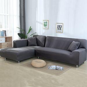 2 Stück Normale 3-Sitzer-Sofabezüge Stretch-Schonbezüge für Schnittsofa Geteiltes L-förmig Sofa,Grau