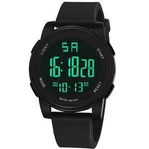 Sport Herren Digital Alarm Chronograph Leuchtdatum Multifunktions Armbanduhr Schwarz