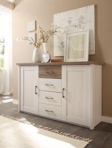 Schlafzimmer Komplett Set 5-tlg. Bett 180 Kleiderschrank Kommoden Pinie Weiß