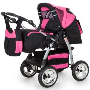 Lux4Kids 2 in 1 Kombi Kinderwagen Buggy Babywanne Set Magnum  Cosmic Black & Pink  ohne Winterfußsack ohne Sonnenschirm