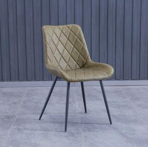 4x Stuhl Leder Grün mit Armlehne kurz