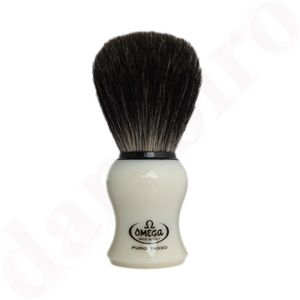 Omega Rasierpinsel Dachshaar Stockzupf 13019 Pure Badger mit beige Griff