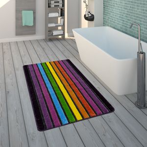 Badematte, Kurzflor-Teppich Für Badezimmer Mit Streifen-Muster, 3-D-Effekt In Bunt, Grösse:60x100 cm