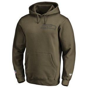 NFL Hoody Seattle Seahawks Iconic Olive hooded Sweater Kaputzen Pullover  L