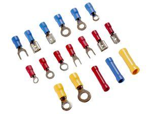 150 teiliges Sortiment Kabelschuhe und Stoßverbinder Flachstecker Steckhülsen in Sortimentsbox