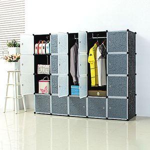 Kleiderschrank aus Kunststoff Modularer Kleiderschrank 183x37x147cm Wardrobe Rack Steckregal
