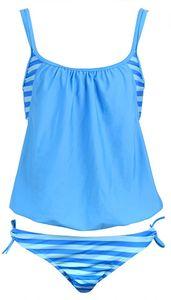 TOPLUS Damen Badeanzug Bikini Set mit Schnürung Streifen Beidseitiger Badeanzug Halfter Blau .L