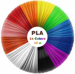 3D Stift Filament 12 Farben je 5m, 3D Stift Nachfüller, 3D Pen PLA Filament 1,75mm, 3D Stift Farben Set für Kinder
