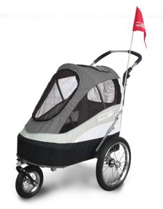 InnoPet® Sporty Trailer AT Pet Stroller Hundebuggy mit Luftreifen Fahrradanhänger Nylon schwarz/grau