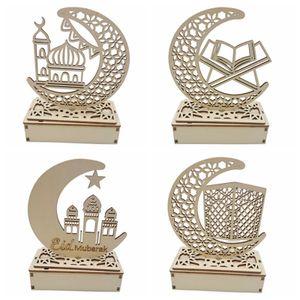 4X Ramadan Eid LED Nachtlicht, Dekorationen Tischlampe Holz Moon Star Nachtlichter Laterne für Festival Partyzubehör(Kombination 3)