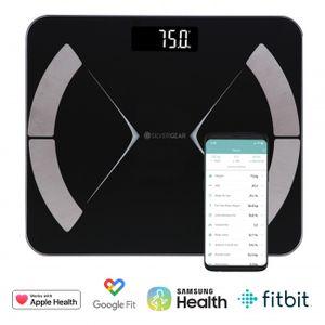 Silvergear Smart Körperfettwaage, Personenwaage Digital, Körperanalysewaage Bluetooth mit App, Waage mit Körperfett und Muskelmasse, BMI, Gewicht, Wasser, Protein, Knochengewicht, BMR, Schwar