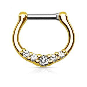 Nasenpiercing Septum Ring Clicker Nasenring Klapp Piercing Nase Zirkonia Kristall Chirurgenstahl gold-transparent 1,6 mm