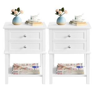 Yaheetech 2 x Nachttisch Beistelltisch Kommode Wohnzimmertisch Sofatisch Nachtschrank mit 2 Schubladen und 1 Ablage Weiß Holz 45x35x61cm