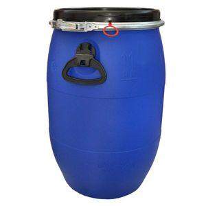 60 Liter Weithalsfass mit Spannverschluss   Lebensmittelecht   Universalfass   Futterfass   Maische Tierfutter Trinkwasser Camping Lagerfass   Stapelbar   Blau