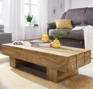 FineBuy Couchtisch Massiv-Holz LUCCA 120cm breit Design Wohnzimmer-Tisch braun Landhaus-Stil Beistelltisch, Nachbildung/Front:Akazie