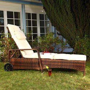Liegestuhl Gartenliege Sonnenliege Polyrattan Sonnen Liege Garten Rattanmöbel