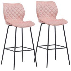 Duhome 2er Set Barhocker Barstuhl aus Stoff Samt Hellrosa Pink Gestell Metall