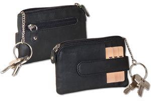 Rinaldo® Schlüsseltasche mit 3 Kreditkartenfächern und kleinem Geldfach aus Rind-Nappaleder in Schwarz