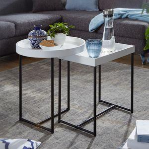 WOHNLING Satztisch 2er Set Weiß WL5.980 Holz/Metall Beistelltische Modern | Design Tabletttisch 2-Teilig | Kleine Couchtische mit Ablage | Dekotische Rund und Rechteckig | Coole Tische für Wohnzimmer