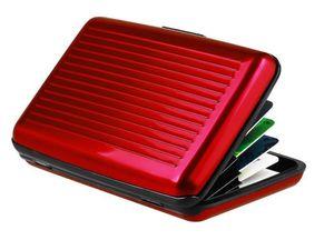 Kreditkartenetui Aluminium mit RFID Schutz | 11.5x7.2cmx2cm Geldbörse | Visitenkartenetui Kartenhalter - ROT | Herren Kreditkartenhülle |  Portemonnaie | Damen Portmonee Kartenhalter Alu Etui