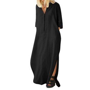Frauen einfarbig halbärmelige V-Ausschnitt Knöpfe lang geschlitzte Baumwolle Leinen Maxi-Kleid