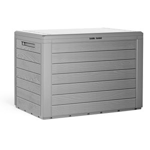 Auflagenbox Kunststoff Truhe Kissenbox Balkonbox Garten Balkon Kissentruhe Lille, Farbe:Grau