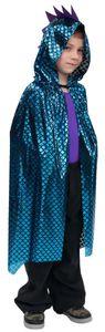 Kinder Unisex Kostüm Drachen Cape blau Karneval Fasching Gr. 116/128