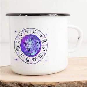 HUURAA! Emaille Tasse Astrologie Sternzeichen Geschenk Idee 300ml Retro Camping-Becher Vintage Kaffeetasse Kaffee-Becher Weiß mit