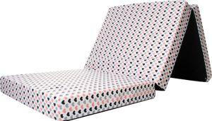 Reisebett-Matratze, Kindermatratze, Bezug 100% Baumwolle,120x60x6cm, Babyblume rosa/grau herz