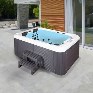 HOME DELUXE - Outdoor Whirlpool BEACH plus Treppe und Thermoabdeckung Jacuzzi Außenpool Spa