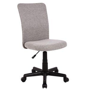 SixBros. Bürostuhl,Schreibtischstuhl zum Drehen, Drehstuhl für's Büro oder Home-Office, stufenlos höhenverstellbar, Chefsessel aus Stoff, grau, H-2578/2493