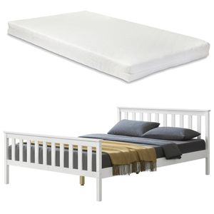 [en.casa] Holzbett mit Matratze 140x200cm mit Hohem Kopfteil und Lattenrost Weiß Bett mit Kaltschaummatratze  100 Kiefernholz Doppelbett Jugendbett