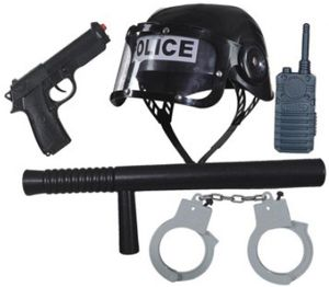 O47152 schwarz Kinder Polizei-Police Set 5teilig