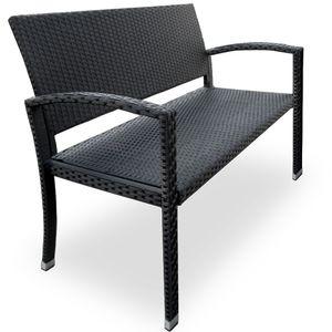 Gartenbank Poly Rattan 2-Sitzer UV-Lichtbeständig Sitzkomfort Parkbank Balkon Garten Möbel Sitzbank, Farbe:schwarz