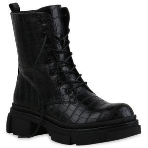 Mytrendshoe Damen Stiefeletten Leicht Gefüttert Plateau Boots Blockabsatz 835434, Farbe: Schwarz, Größe: 37