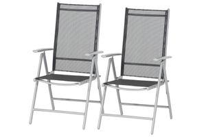 Siena Garden Saturn Klappsessel 2er Set, Gestell Aluminium in silber, Fläche Textilbezug in schwarz