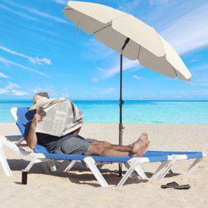 SONGMICS Sonnenschirm 200 cm  Sonnenschutz achteckiger Strandschirm aus Polyester knickbar  Schirmrippen aus Glasfaser mit Tragetasche Beige GPU65WTV1