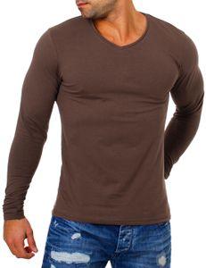 Young & Rich Herren Uni Longsleeve v-Neck Basic Tee langarm Shirt einfarbig V-Ausschnitt slimfit mit Stretchanteilen 2001, Grösse:XL, Farbe:Braun