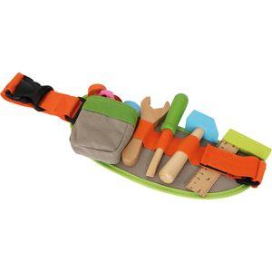 Small Foot 4745 Kinder-Werkzeuggürtel inkl. Zubehör aus Holz und Klickschnalle, mehrfarbig, 14-teilig (1 Set)