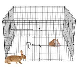ECD Germany Freilaufgehege aus 8 Gittern für Kleintiere, 124 x 76 cm, Freigehege aus Metall, Auslauf für Kaninchen, MeerschWeißchen und Hühner, Kleintiergehege Laufstall Kaninchenstall Hösenstall
